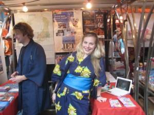 JETAA stall at Japan Matsuri Ed and Vanessa