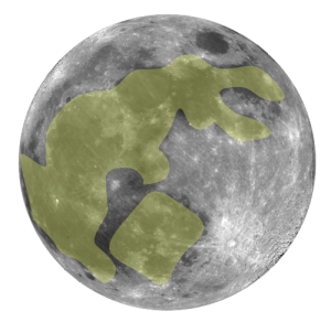 Rabbit in the moon standing by pot
