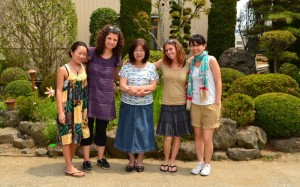 Ishikawa family home stay. Chizu, Oana, Chizu's mum, Estelle and Masae July 2011
