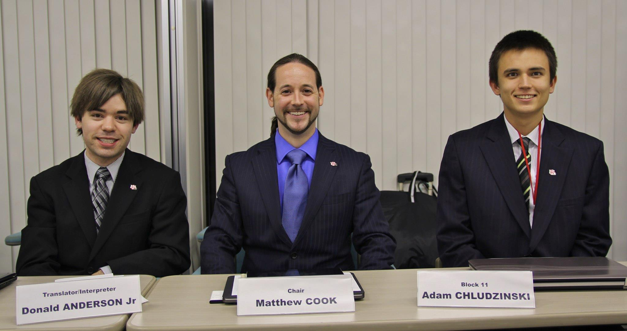 Donny Anderson, (Translator) Matthew Cook (Chair) and Adam Chludzinski (Block 11 Rep)