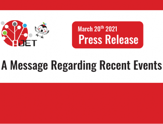 [March 20th 2021] Press Release – A Message Regarding Recent Events